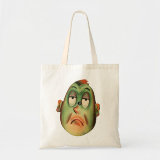 Vintage Retro Kitsch Cartoon Head Green With Envy Tote Bag