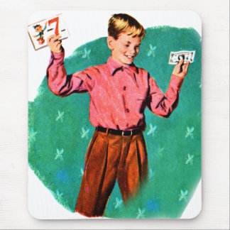 Vintage Retro Kitsch Children Lucky Sevens Money Mouse Pad
