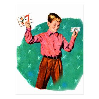 Vintage Retro Kitsch Children Lucky Sevens Money Postcard