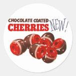 Vintage Retro Kitsch Chocolate Covered Cherries Round Stickers