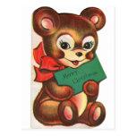 Vintage Retro Kitsch Christmas Card Little Bear Post Cards