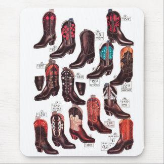 Vintage Retro Kitsch Cowboy Boots Catalog Ad Mouse Pad