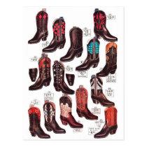 Vintage Retro Kitsch Cowboy Boots Catalog Ad Postcard