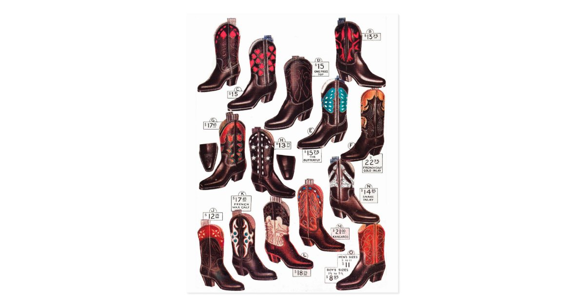 Vintage Retro Kitsch Cowboy Boots Catalog Ad Postcard | Zazzle