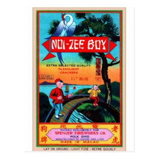 Vintage Retro Kitsch Firecracker Noi-Zee Boys Postcard