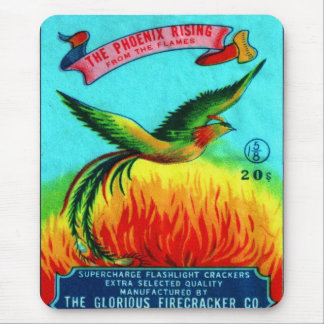Vintage Retro Kitsch Firecracker Phoenix Rising Mouse Pad