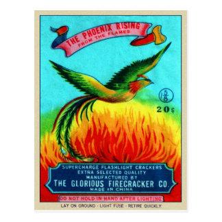 Vintage Retro Kitsch Firecracker Phoenix Rising Postcard