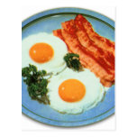 Vintage Retro Kitsch Food Bacon And Eggs Postcard