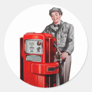 Vintage Retro Kitsch Gas Gasoline Station Gus Classic Round Sticker