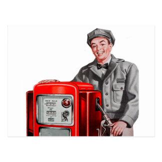 Vintage Retro Kitsch Gas Gasoline Station Gus Postcard
