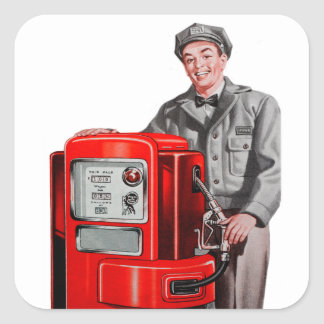 Vintage Retro Kitsch Gas Gasoline Station Gus Square Sticker