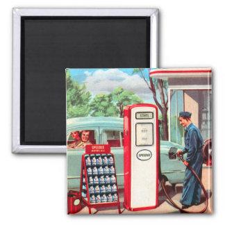 Vintage Retro Kitsch Gasoline Station Filler Up 2 Inch Square Magnet