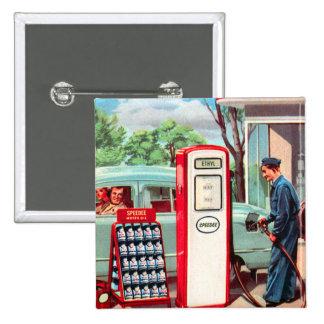 Vintage Retro Kitsch Gasoline Station Filler Up Button