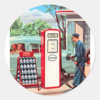 Vintage Retro Kitsch Gasoline Station Filler Up Classic Round Sticker