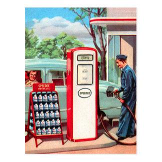 Vintage Retro Kitsch Gasoline Station Filler Up Postcard
