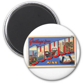 Vintage Retro Kitsch Greetings From Duluth MN 2 Inch Round Magnet