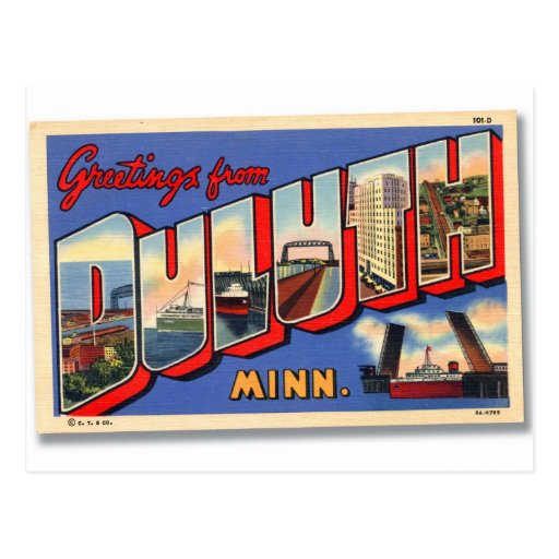 Vintage Retro Kitsch Greetings From Duluth MN Postcard