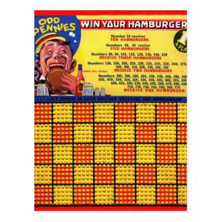 Vintage Retro Kitsch Hamburger Odd Pennies Punch Postcard