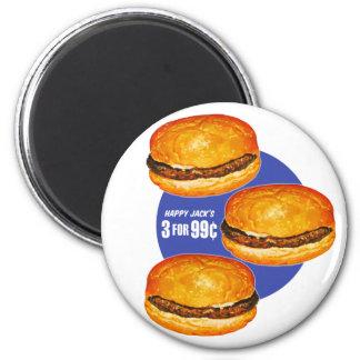 Vintage Retro Kitsch Hamburgers Happy Jack's 99¢ 2 Inch Round Magnet