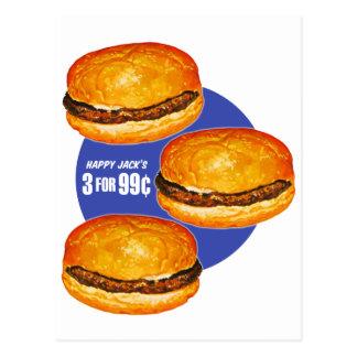Vintage Retro Kitsch Hamburgers Happy Jack's 99¢ Postcard