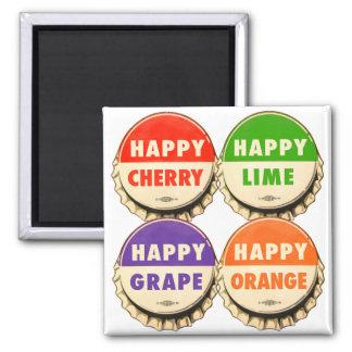 Vintage Retro Kitsch Happy Soda Pop Caps Magnet