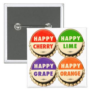 Vintage Retro Kitsch Happy Soda Pop Caps Pinback Button
