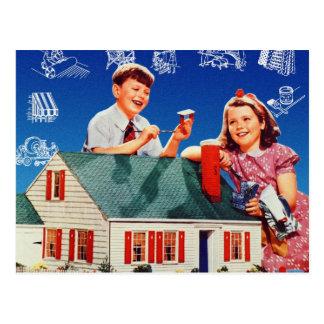 Vintage Retro Kitsch Home House Huge Kids Postcard