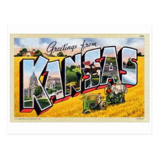 Vintage Retro Kitsch Kansas Big Letter Postcard