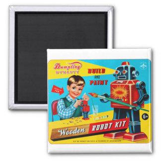 Vintage Retro Kitsch Kids Toy Wooden Robot Kit Magnet