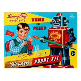 Vintage Retro Kitsch Kids Toy Wooden Robot Kit Postcard