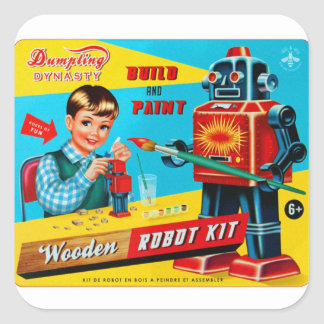 Vintage Retro Kitsch Kids Toy Wooden Robot Kit Square Stickers