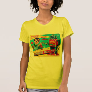 Vintage Retro Kitsch Kids Toy Wooden Robot Kit Tee Shirt
