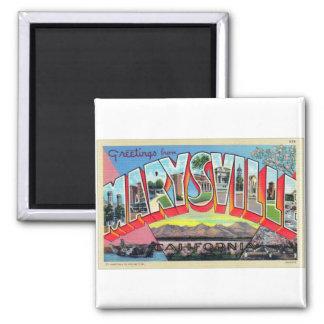 Vintage Retro Kitsch Marysville CA Letter Postcard 2 Inch Square Magnet
