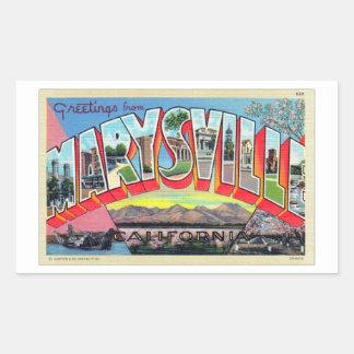 Vintage Retro Kitsch Marysville CA Letter Postcard Rectangular Sticker