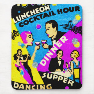 Vintage Retro Kitsch Match Art 30s Dinner Cocktail Mouse Pad