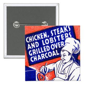 Vintage Retro Kitsch Matchbook Chef Lobsters Steak Button
