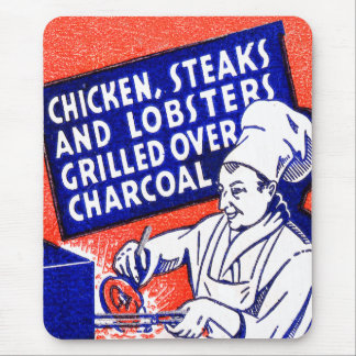 Vintage Retro Kitsch Matchbook Chef Lobsters Steak Mouse Pad