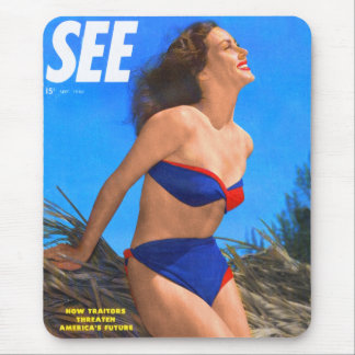 Vintage Retro Kitsch Men's Magazine See Pin Up Mouse Pad