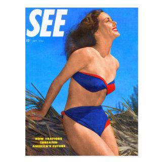 Vintage Retro Kitsch Men's Magazine See Pin Up Post Card