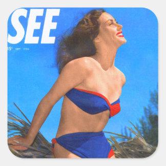 Vintage Retro Kitsch Men's Magazine See Pin Up Square Sticker