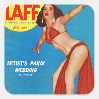 Vintage Retro Kitsch Mens Man Magazine Pin Up Laff Square Sticker
