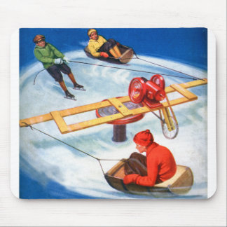 Vintage Retro Kitsch Motorized Kid's Skating Rink Mouse Pad