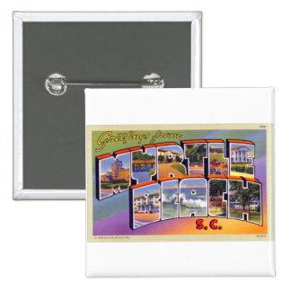 Vintage Retro Kitsch Myrtle Beach SC Postcard 2 Inch Square Button