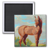 Vintage Retro Kitsch Paint By Numbers Horse Magnet