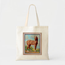 Vintage Retro Kitsch Paint By Numbers Horse Tote Bag