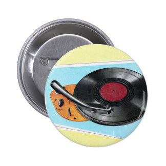Vintage Retro Kitsch Phonograph Record Player Pinback Button