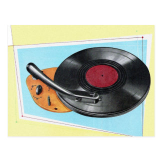 Vintage Retro Kitsch Phonograph Record Player Postcard