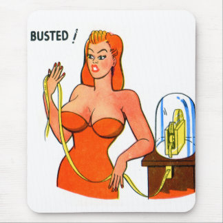 Vintage Retro Kitsch Pin Up Cartoon Busted Girl Mouse Pad