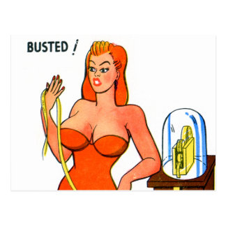 Vintage Retro Kitsch Pin Up Cartoon Busted Girl Postcard