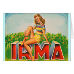 Vintage Retro Kitsch Pin Up Fruit Crate Irma Card